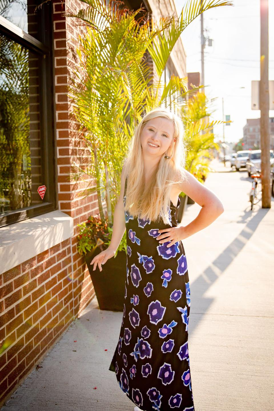 Grace Strobel, model with Down Syndrome, modeling for Alivia, an inclusive fashion brand.