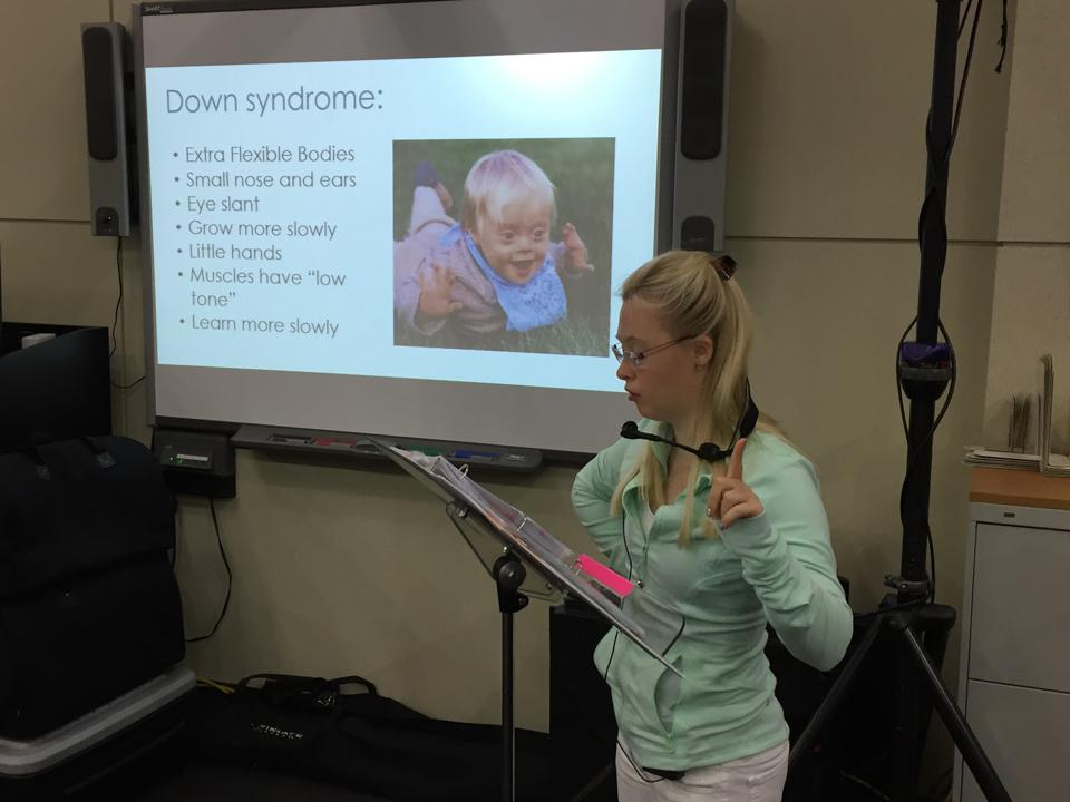 Grace Strobel speaks to students about living as a person with Down Syndrome.
