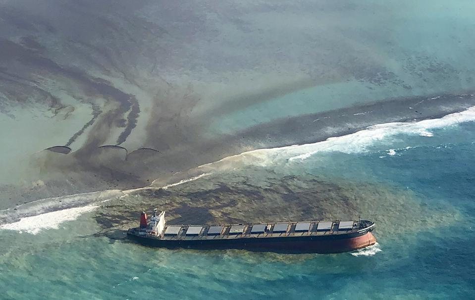 Friday, Aug. 7, 2020: leaking oil from the Wakashio after the currents had pushed the Wakashio for 1000 meters along Mauritius' jagged barrier reefs.