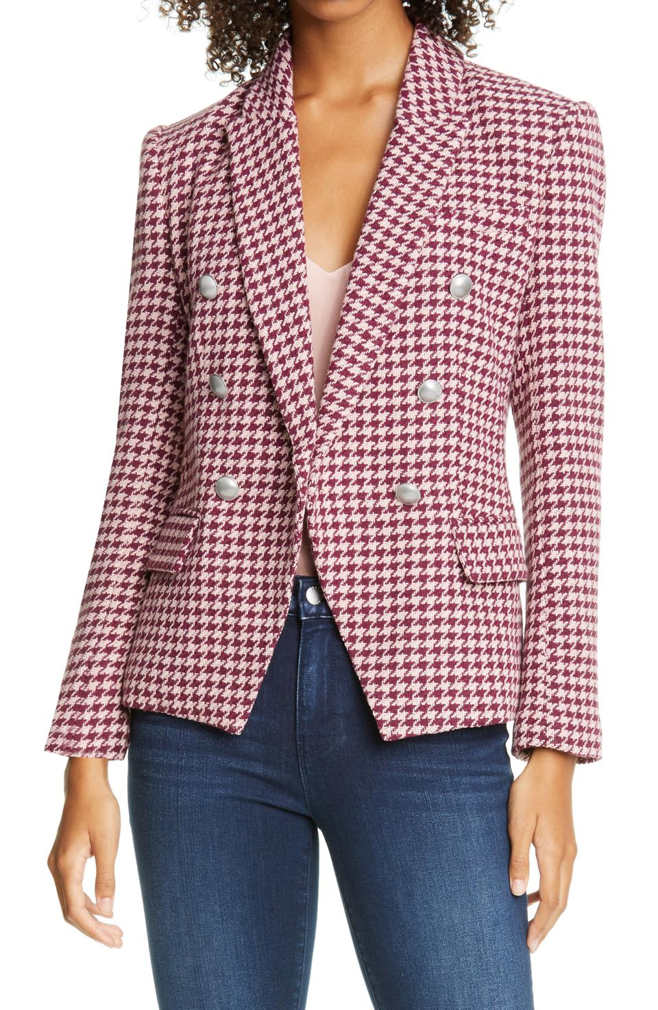 L'Agente Kenzie Double Breasted Houndsooth Tweed Blazer