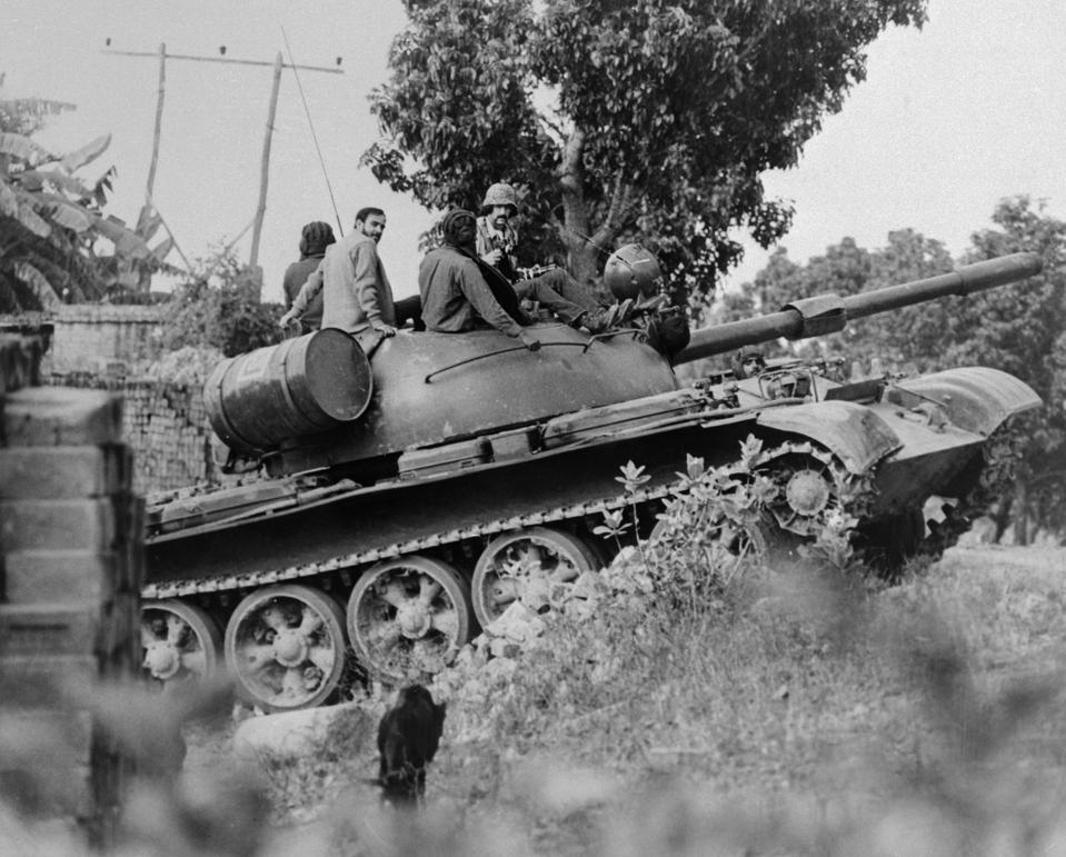 Military Tank Moving Through India