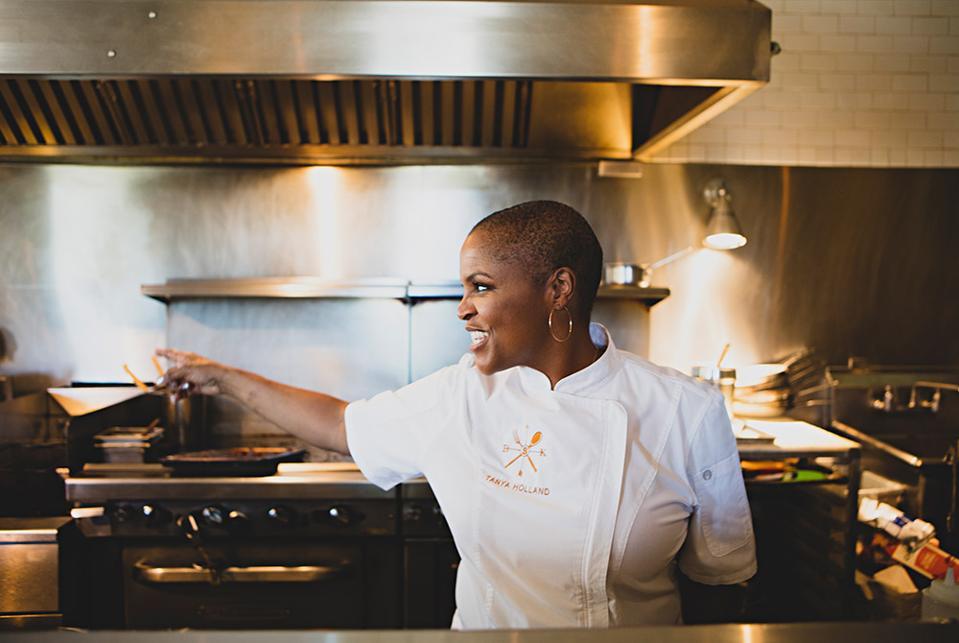 Tanya Holland, Top Chef contestant and James Beard Award Chef Chair, at work
