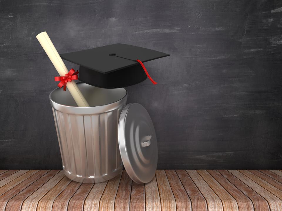 Trash Can with Graduation Cap on Chalkboard Background - 3D Rendering