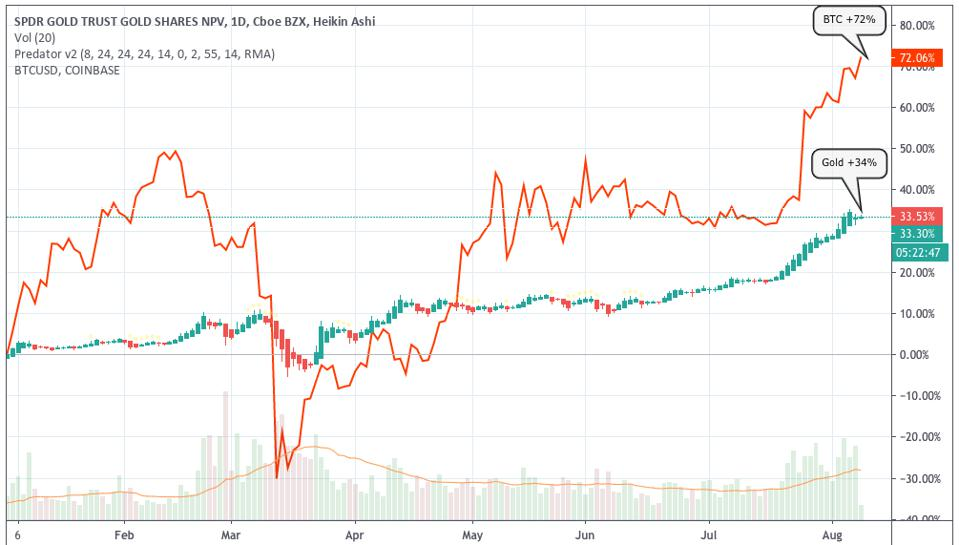 Gold has only been outperformed by bitcoin this year in terms of other stores of value