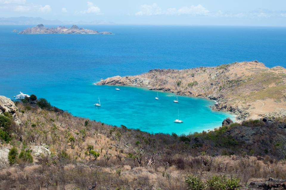 Caribbean beach in St Barts open to tourism post-covid for U.S. American tourists