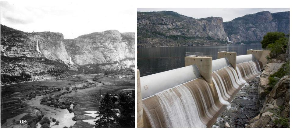 Hetch Hetchy Valley in Yosemite National Park before and after construction of O'Shaughnessy Dam.