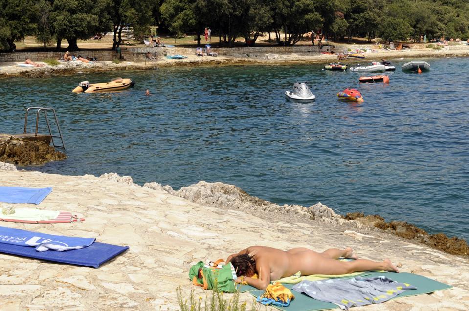 Naked sunbathing in Croatia.