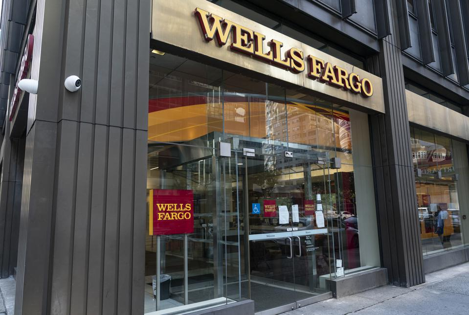 View of Wells Fargo Bank closed branch in Manhattan. Profit...