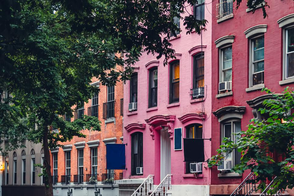 SoHo district, colorful residential buildings