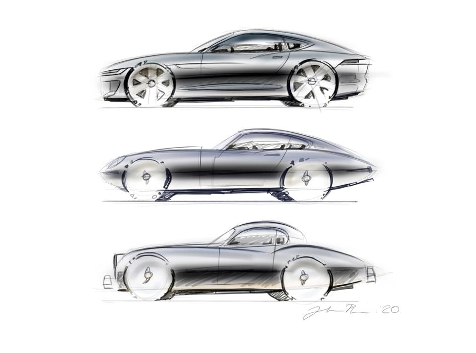 Julian Thomson's rendering of F-type, E-type and and XK150.