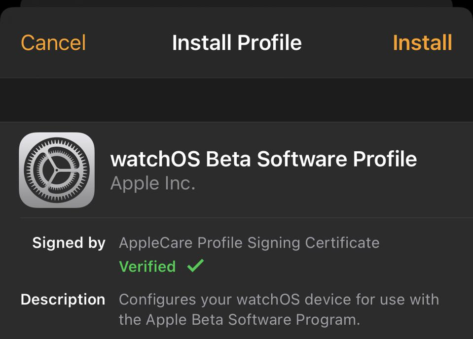 The Profile you need to download to your Watch (restart required).
