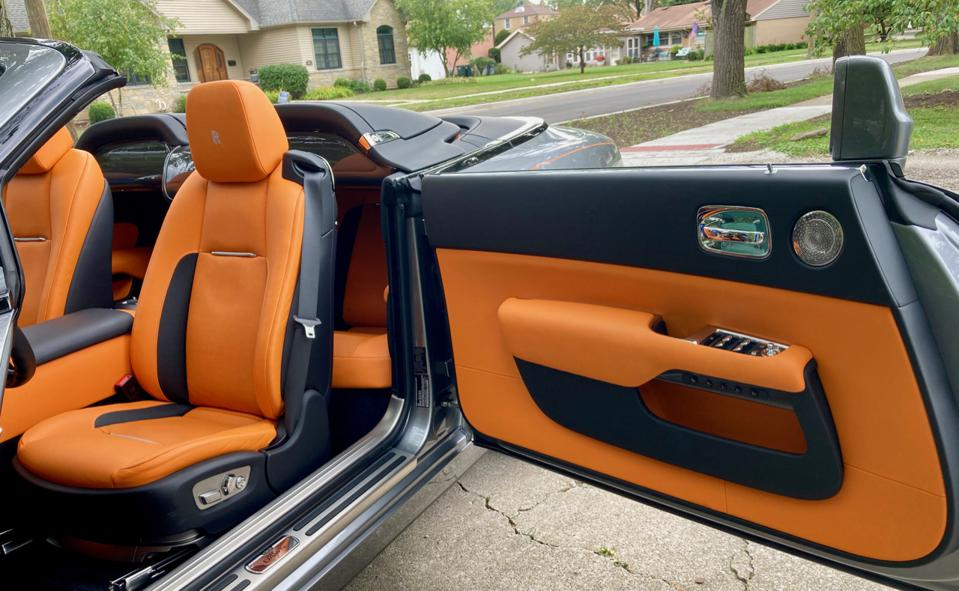 "Wide-opening rear-hinged ""suicide"" doors make ingress and egress into the Rolls-Royce Dawn easier"