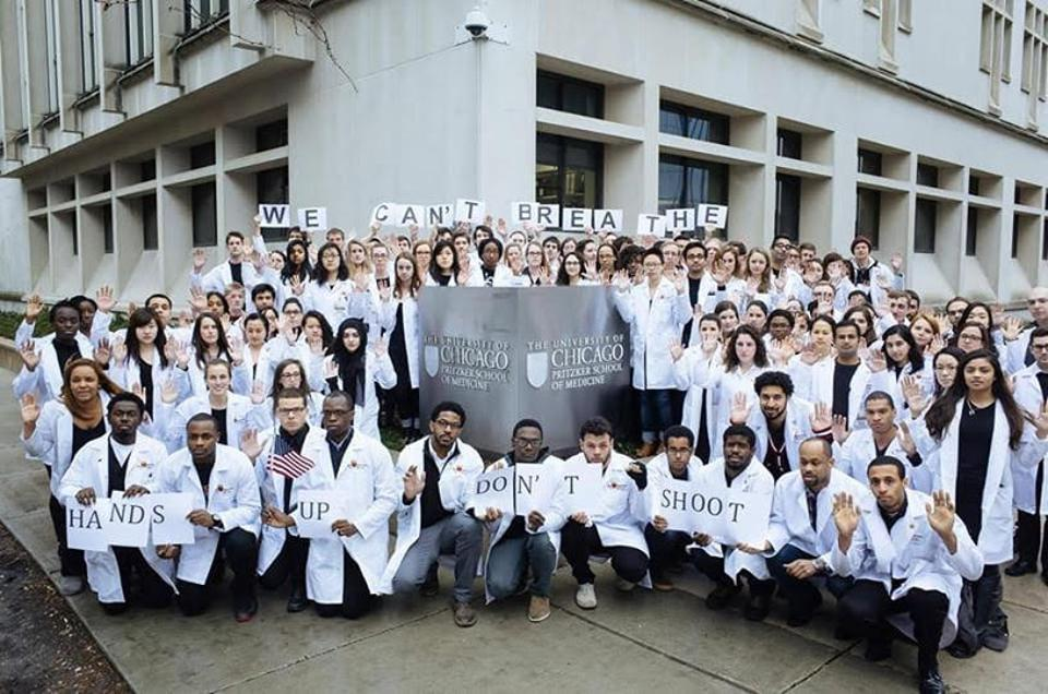 Pritzker School of Medicine students supporting the protests concerning police brutality