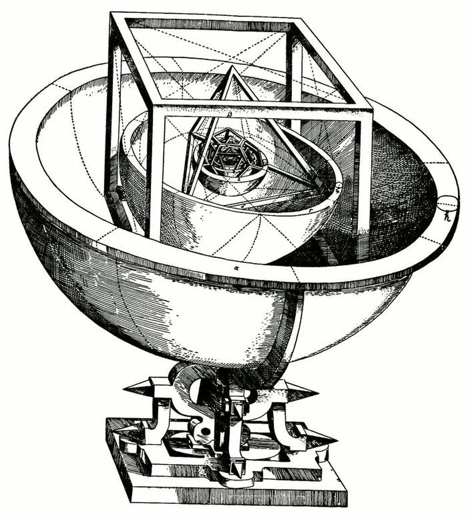 Kepler's original Mysterium Cosmographicum model of the Solar System as nested spheres.