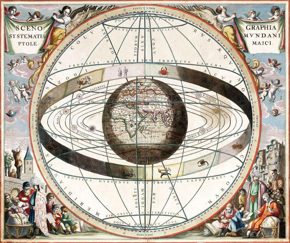 Chart showing signs of the zodiac and the solar system with world at centre.