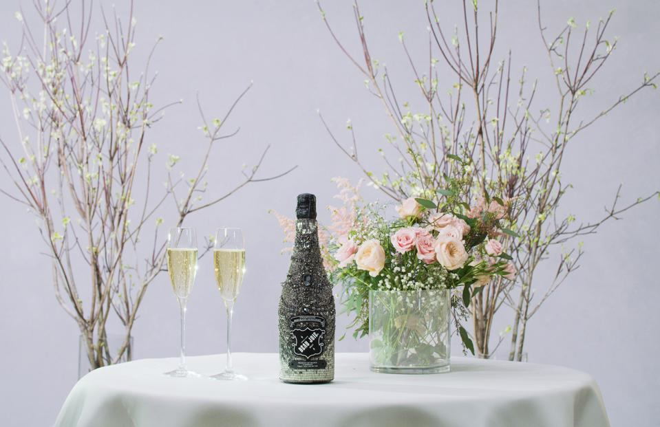 Marchesa x Beau Joie bottle of Champagne with two flutes
