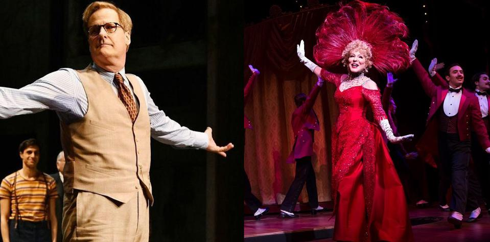 Scenes from two Broadway shows produced by Scott Rudin, who is now being sued for $6.3m