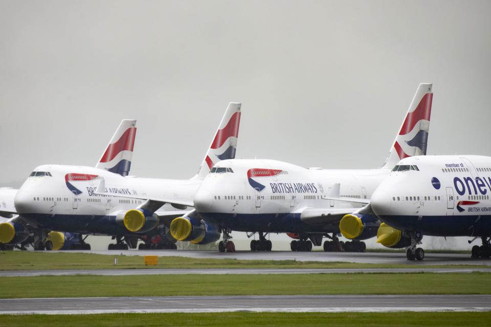 British Airways predicts a long and slow recovery in demand amd sees no future for its fleet of 747 Jumbo jets.