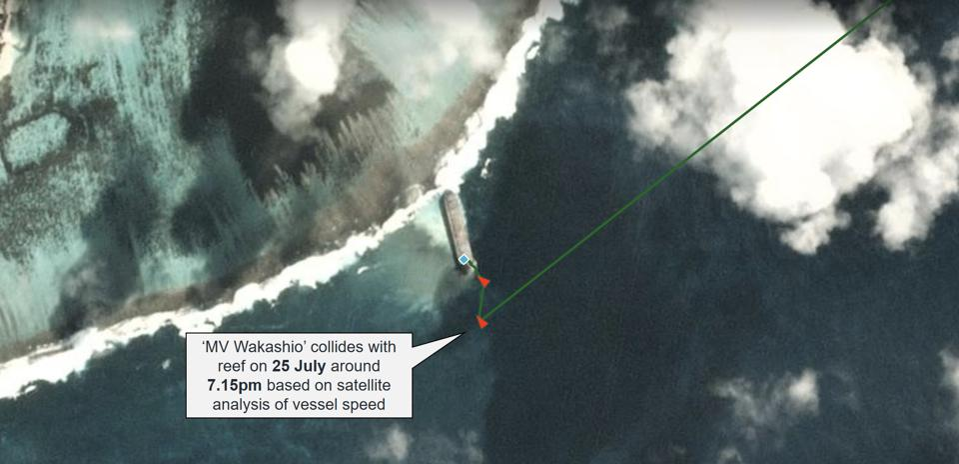 'MV Wakashio' collides with reef on 25 July around 7.15pm based on satellite analysis of vessel speed.