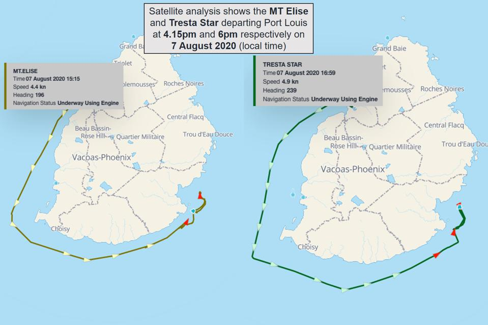 Two supporting tankers, the MT Elise and Tresta Star, departed Port Louis on 7 August 2020 to support recovery of oil from the 'MV Wakashio.'