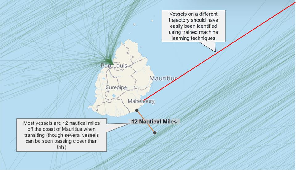 Historic satellite analysis from Windward indicate no significant shifts in behavior of vessels using the main shipping lanes around Mauritius.