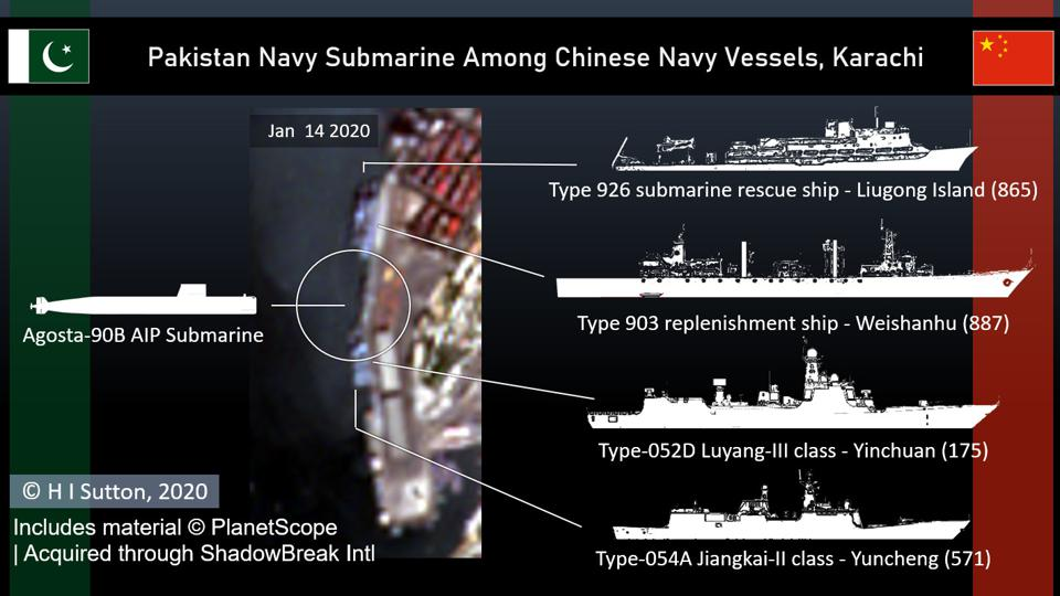 Pakistan Navy Agosta-90B submarine moored centrally among the Chinese Navy warships