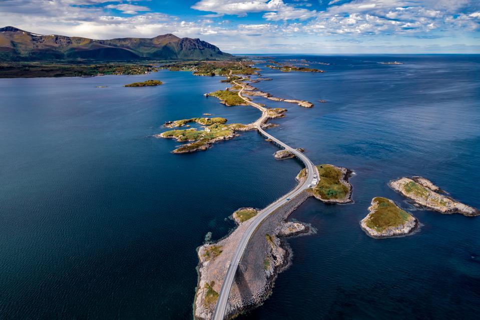 Aerial photograph of the Atlantic Ocean Road in western Norway.
