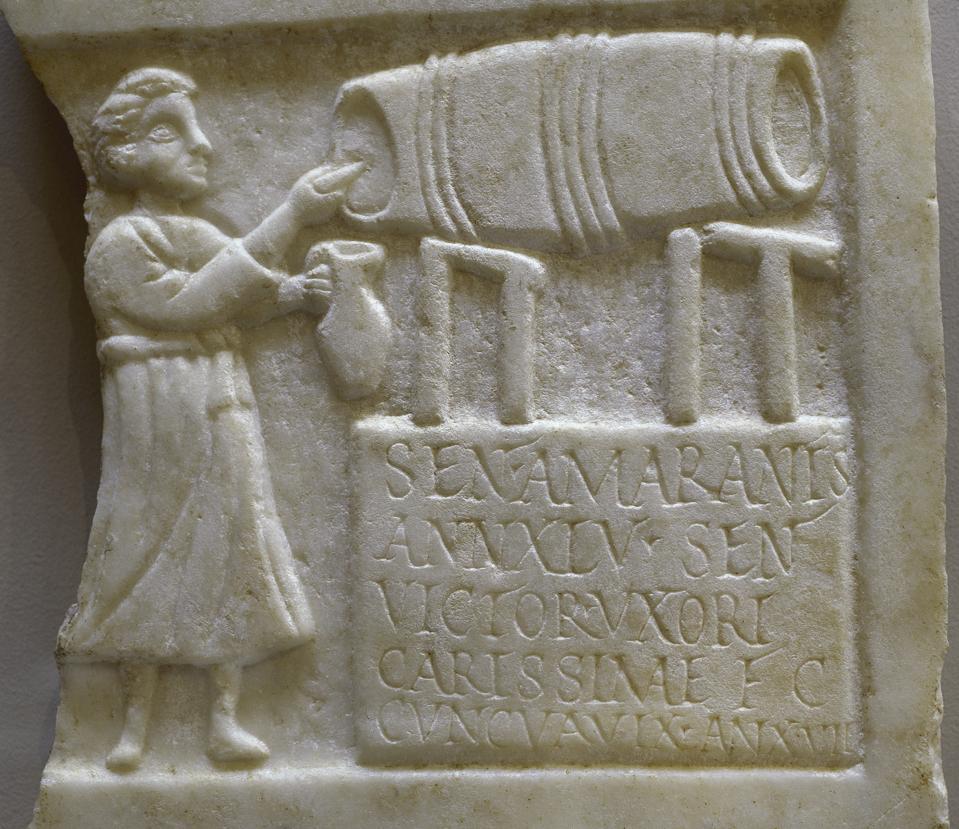 Funerary stele of Sentia Amarantis.  Marble.  2nd-3rd century AD.