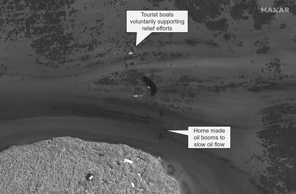 Satellite imagery from 8 August 2020 around Ile aux Aigrettes shows how made oil booms and tourist vessel trying to contain the oil spill