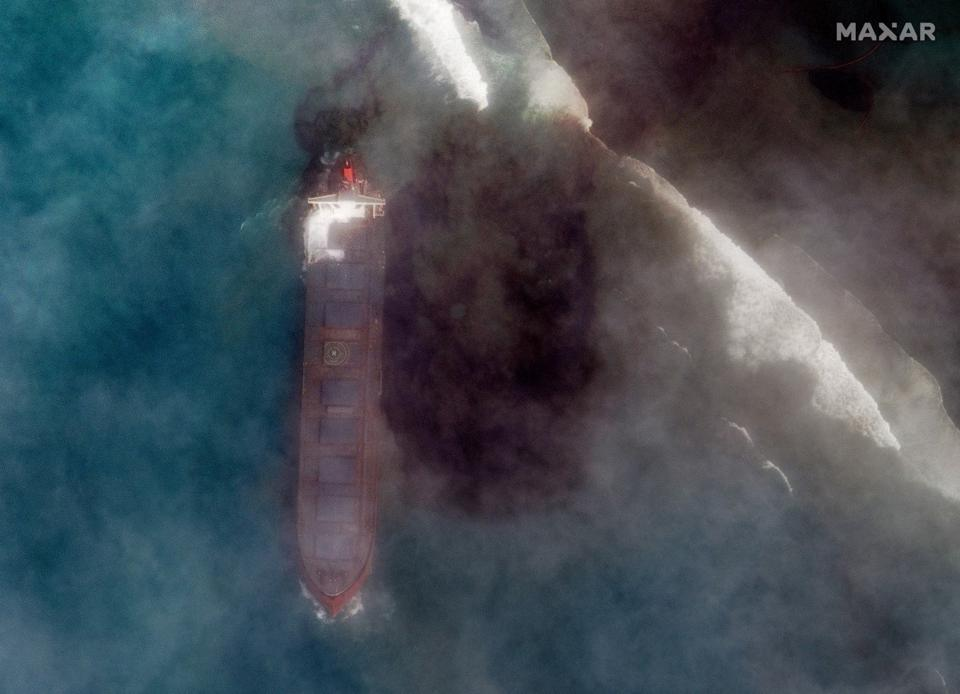 Friday 7th August 2020: the extent of the oil slick around the MV Wakashio becomes clearer a day after oil first started leaking