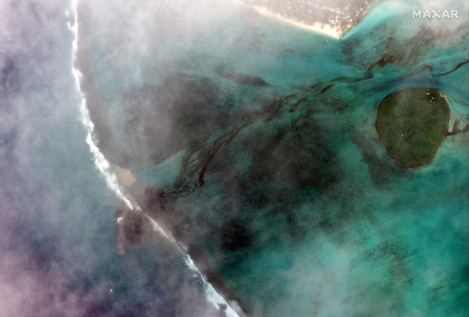Friday 7th August 2020: a wider image still shows the extent of the damage reaching the protected Ile aux Aigrettes (circular atoll)