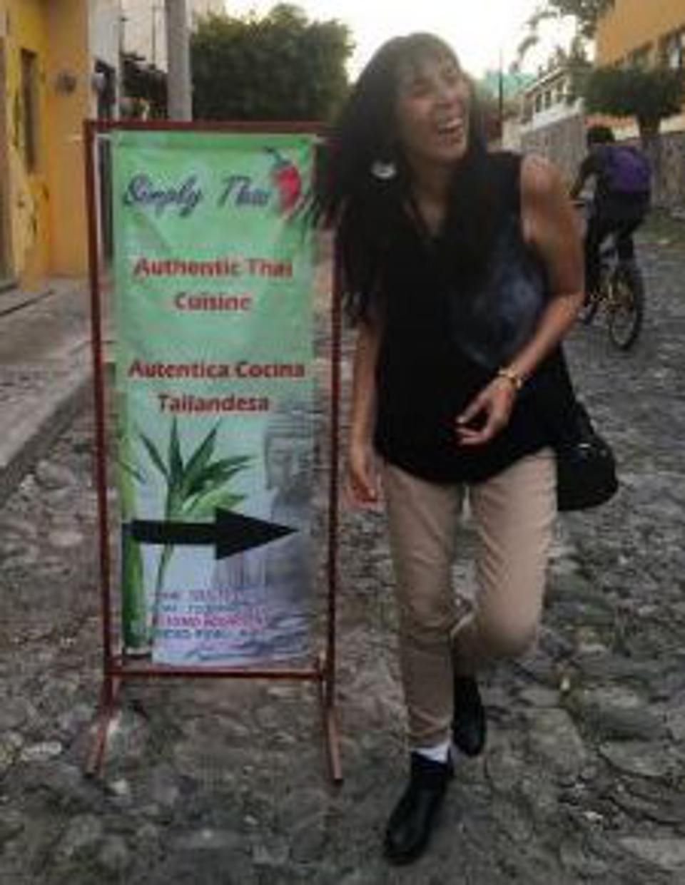 Jet Metier in front of a Thai restaurant in Ajijic, Mexico