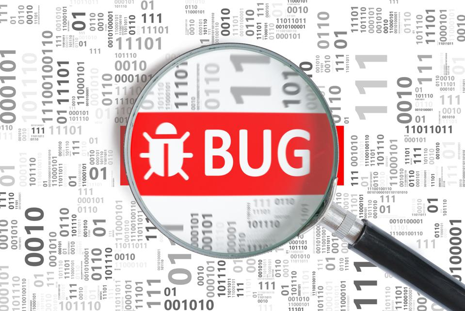 A magnifying glass with the word 'BUG' and a beetle outline enlarged, against a background of binary code.