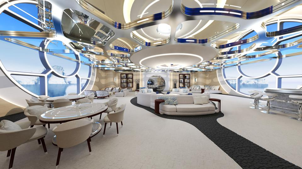 The futuristic open-plan living area on board the Thor Explore concept superyacht