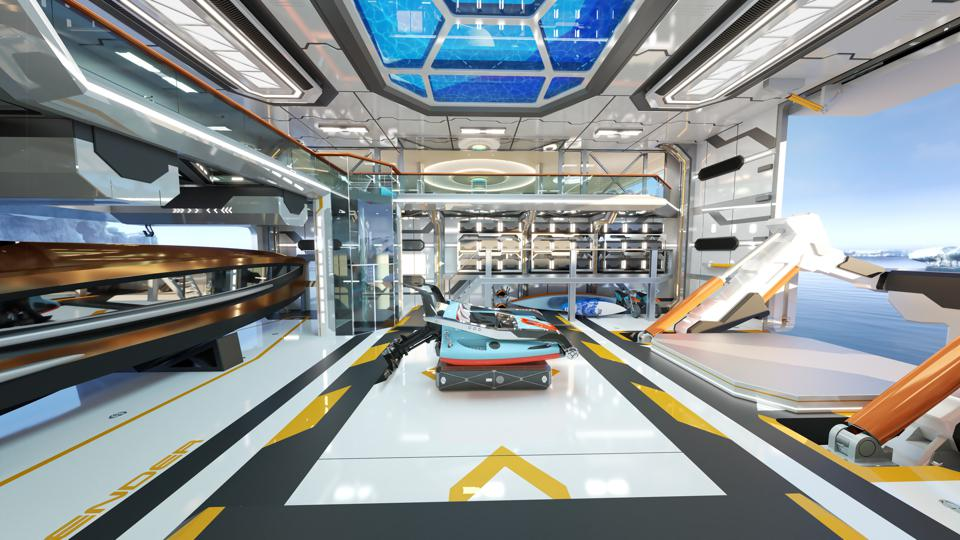 A futuristic custom tender sits in the hangar on the Thor Explore concept superyacht