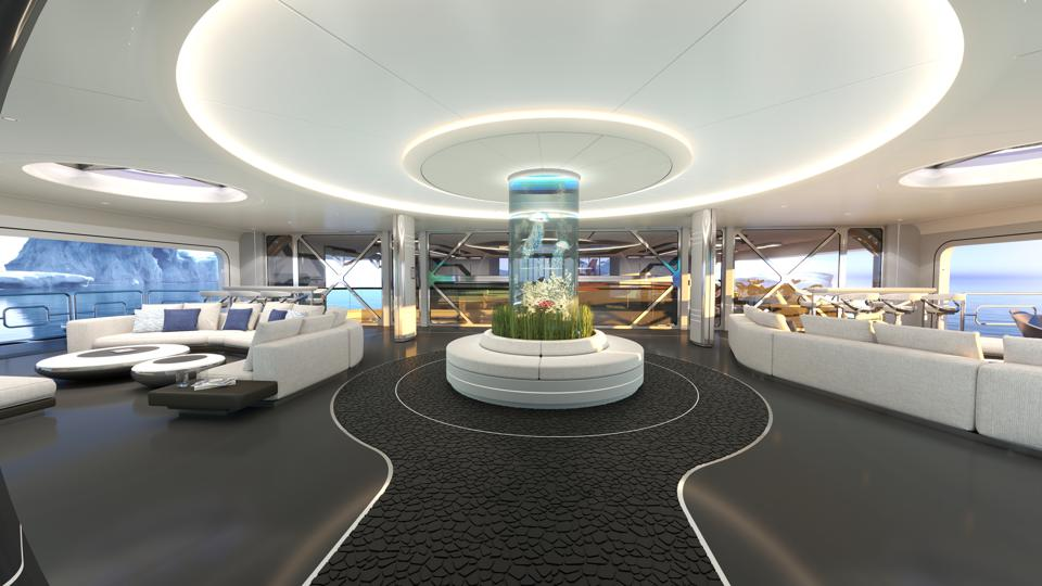 The Beach Club on the Thor Explore superyacht has a cylindrical aquarium at its centre