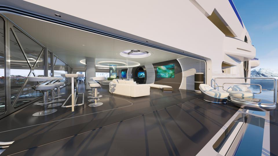 The fold-down balconies on the Thor Explore concept superyacht overlooking the ocean