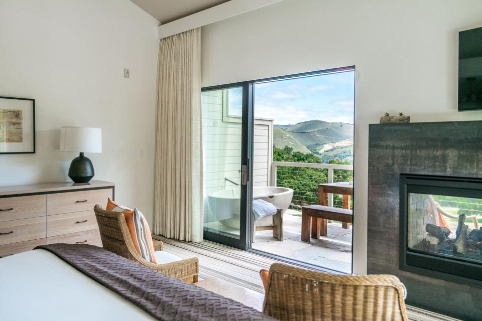 A hotel suite with balcony at Carmel Valley Ranch.