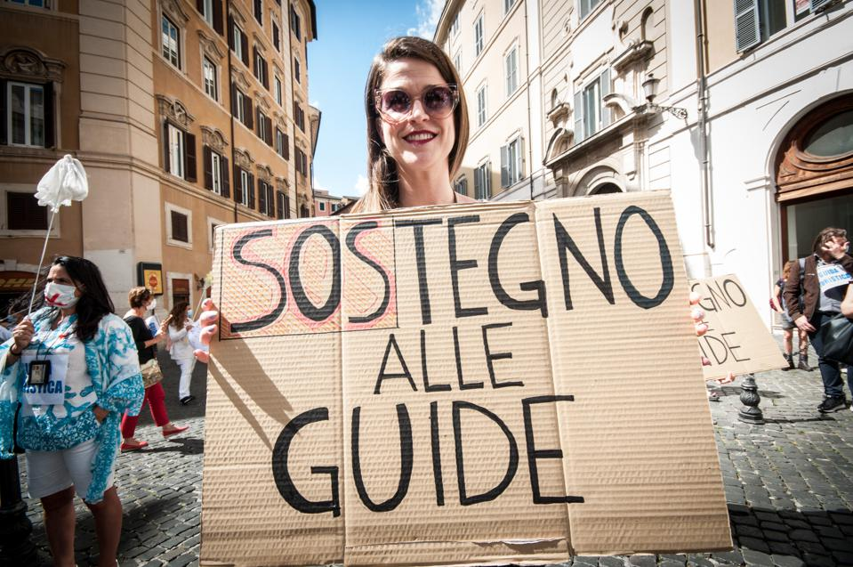 Tour Guides and Travel Agents Protest In Rome Italy over Covid losses with travel bans