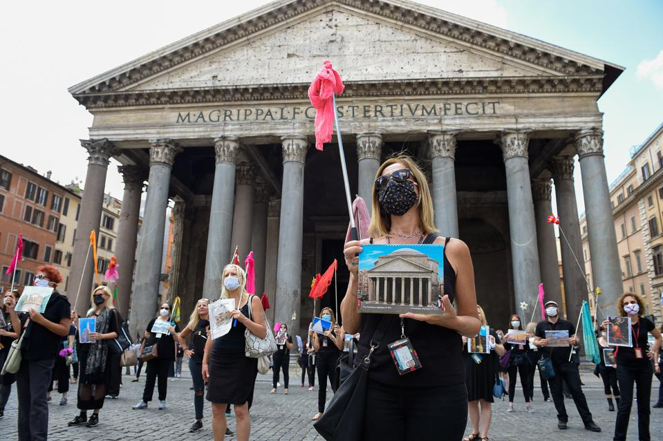 Protest of tour guides in Rome Italy over covid economic losses with no American tourists