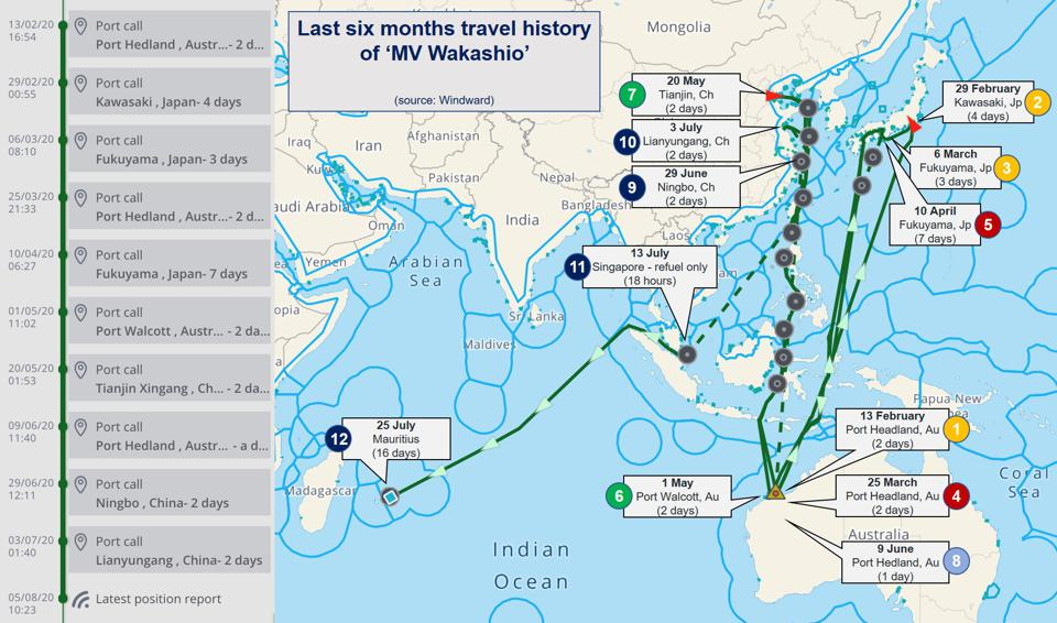 The last six month's voyage history of the 'MV Wakashio' prior to running aground off the reefs of Mauritius on 25 July 2020.