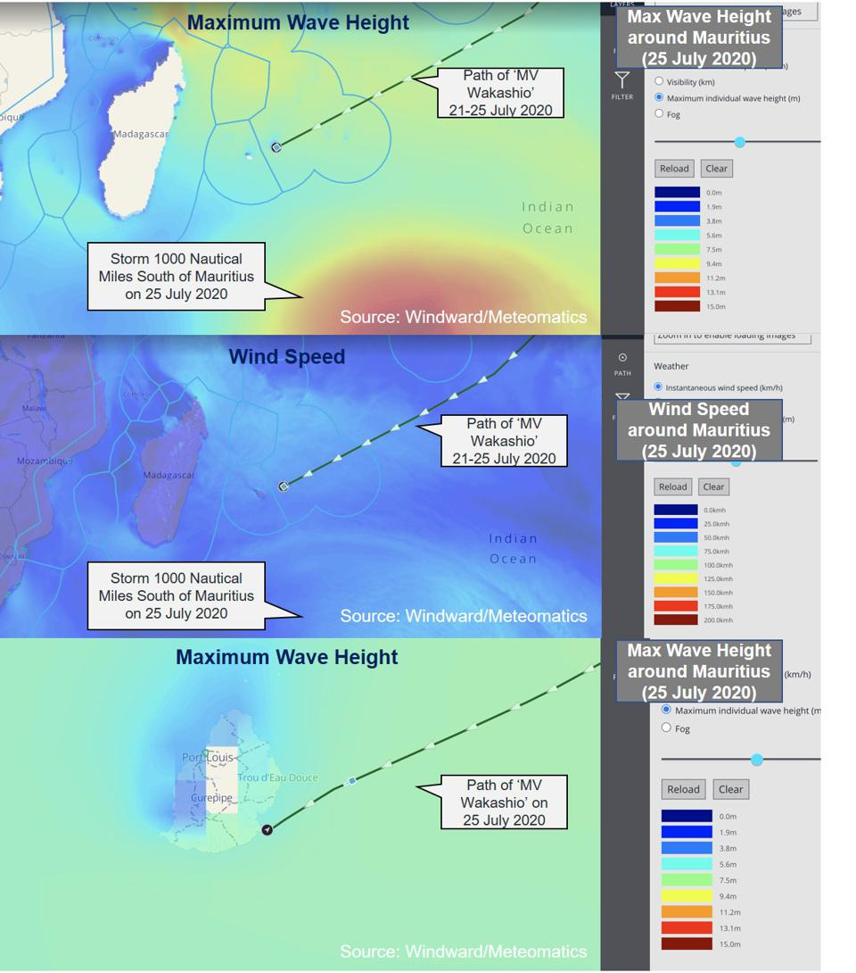 Historic Weather Data shows relatively calm weather at the time of the grounding, and no material shifts in other vessel behavior passing by Mauritius over this period.