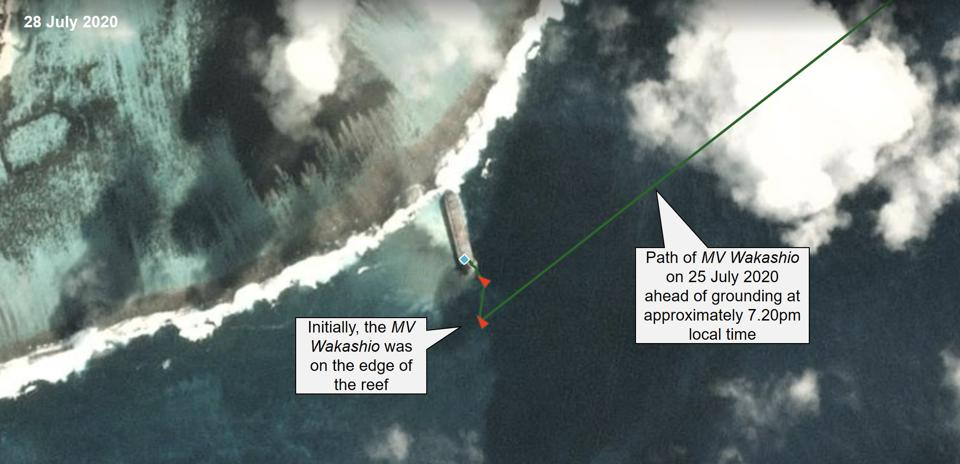 28 July 2020: Initially, the MV Wakashio remained on the edge of the reef (showing in a lighter shade of blue)