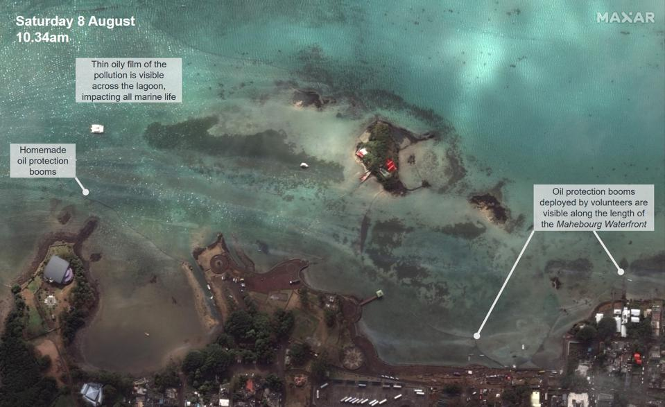 8 August 2020: the deployment of the handmade oil protection booms along the Mahebourg Waterfront could be seen from space