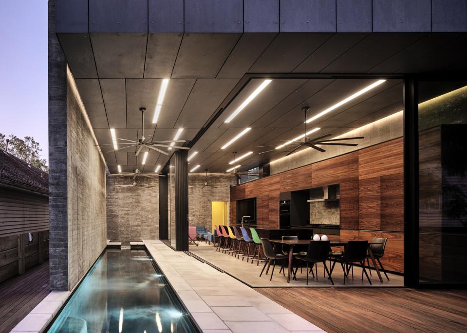 Lap pool at modern house