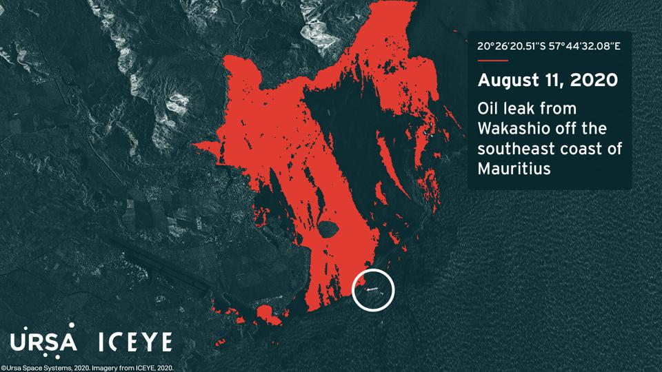 Latest satellite analysis of oil slick on Tuesday 11 August at 3.12pm Mauritian time shows oil slick expanding to 27 square kilometers