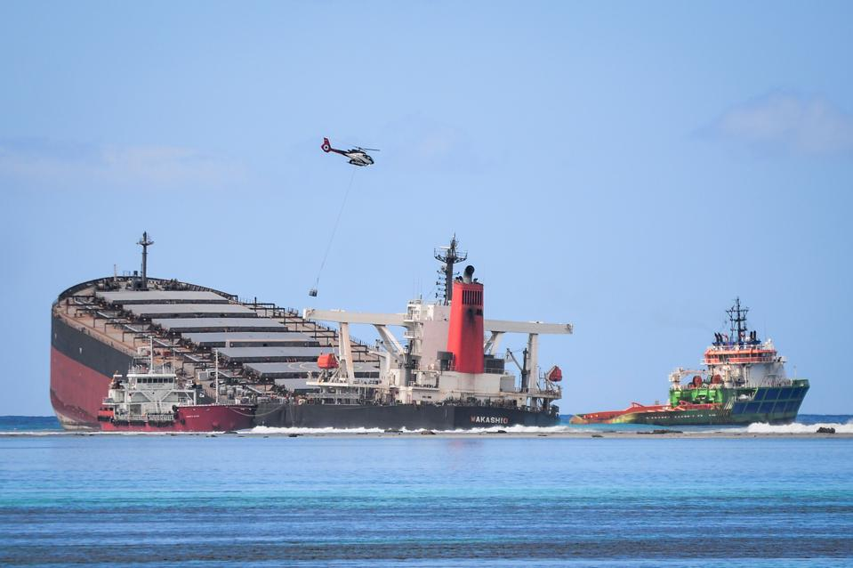 Japanese vessel, MV Wakashio, ran aground and caused a massive oil spill in August in Mauritius