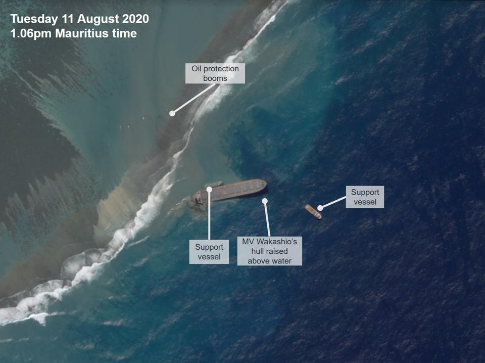 High resolution imagery from 11 August at 1.06pm Mauritius time shows the front of the vessel rising above the water, just prior to a larger gash appearing on the side of the vessel.