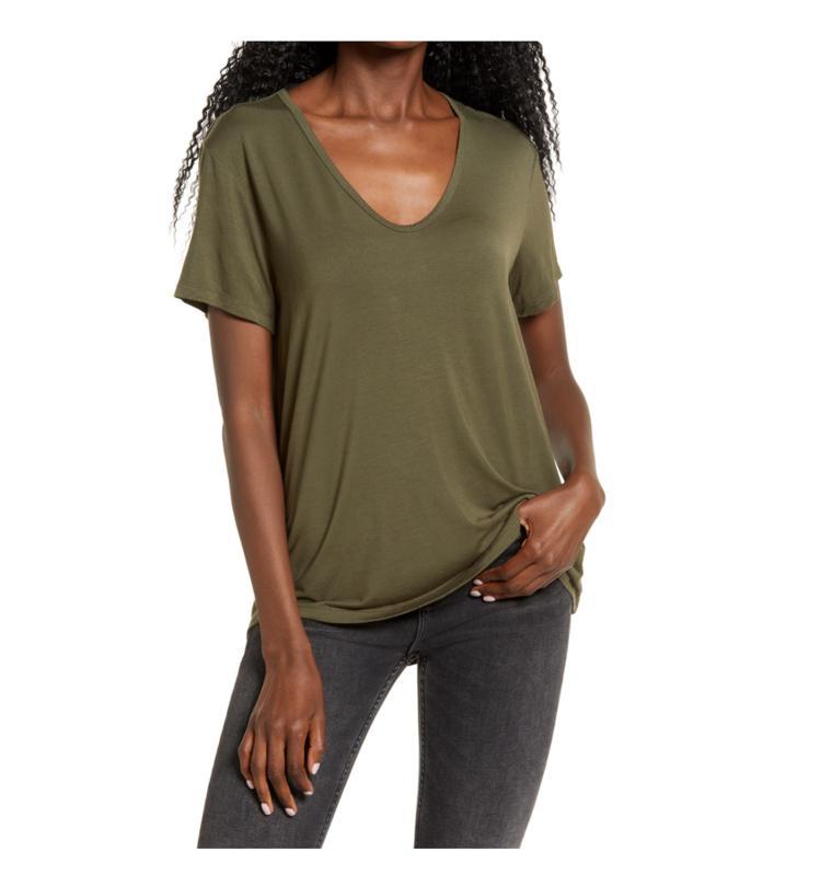 V-neck T-shirt All-in-Favor in olive from Nordstrom