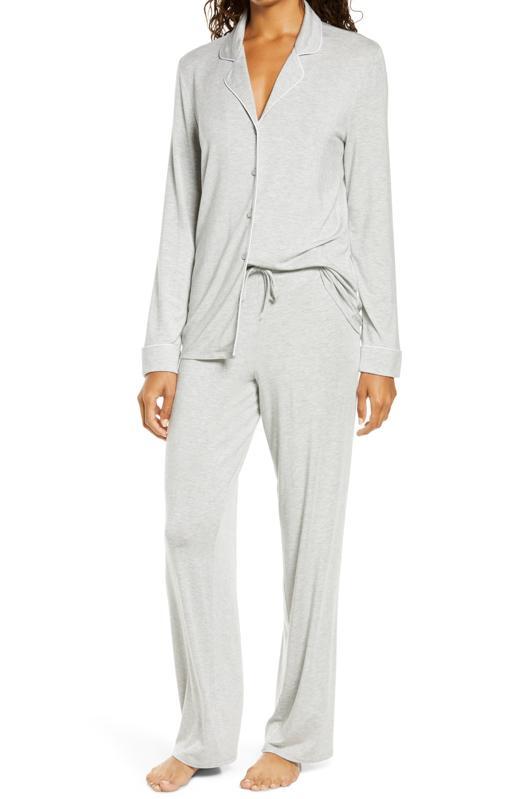 Grey button up pajamas